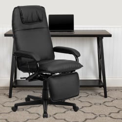 Flash Furniture Bonded LeatherSoft™ High-Back Reclining Swivel Chair, Black