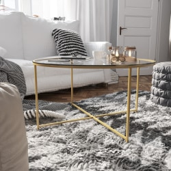 "Flash Furniture Round Glass Coffee Table, 19-1/4""H x 35-1/2""W x 35-1/2""D, Clear/Matte Gold"