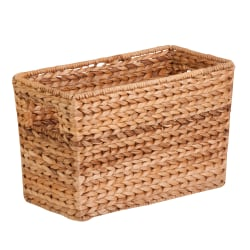 """Honey-Can-Do Large Water Hyacinth Magazine Basket, 15 1/2""""L x 5 5/16""""W x 10""""H, Brown/Natural"""