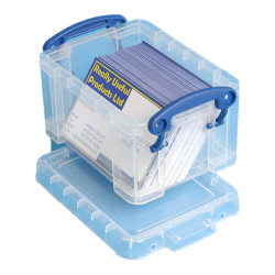"""Really Useful Box® Plastic Storage Container With Built-In Handles And Snap Lid, 0.3 Liter, 4 3/4"""" x 3 1/4"""" x 2 1/2"""", Clear"""