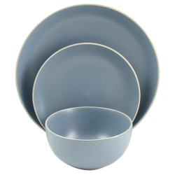 Gibson Home Rockaway 12-Piece Dinnerware Set, Matte Blue