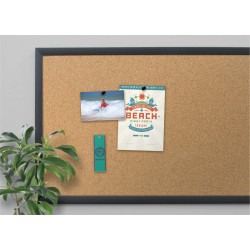 "U Brands Cork Bulletin Board, 24"" x 18"", Black MDF Frame"