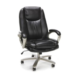 OFM Essentials Big And Tall Bonded Leather High-Back Chair, Brown/Bronze Mist