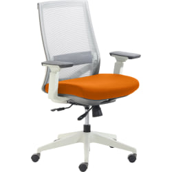 True Commercial Pescara Mesh/Fabric Mid-Back Executive Chair, Orange/Off-White