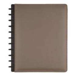 TUL® Discbound Notebook, Letter Size, Leather Cover, Narrow Ruled, 120 Pages (60 Sheets), Gray