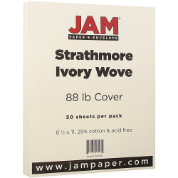 """JAM Paper® Cover Card Stock, 8 1/2"""" x 11"""", 88 Lb, Strathmore Ivory Wove, Pack Of 50 Sheets"""