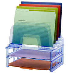"""Officemate® Blue Glacier Large Incline Sorter With Two Letter Trays, 4 1/4"""" x 13 3/8"""" x 9"""", Blue"""