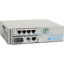 iConverter MUX/M Ethernet + 4xT1/E1 Fiber Multiplexer SC Single-Mode 12km - 4 x T1/E1 (RJ-48) + 1 x 10/100/1000BASE-T to 1 x SC Single-Mode, Univ. AC Powered, Lifetime Warranty