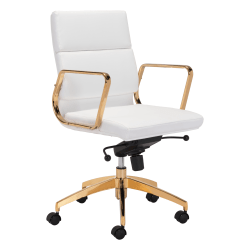 Zuo® Modern Scientist Mid-Back Office Chair, White/Gold