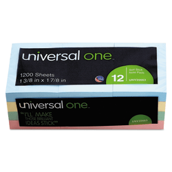 """Universal® Self-Stick Notes, 1 1/2"""" x 2"""", Assorted Pastel Colors, 100 Sheets Per Pad, Pack Of 12 Pads"""