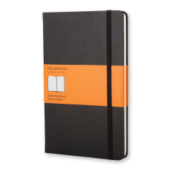 "Moleskine Classic Hard Cover Notebook, 5"" x 8-1/4"", Ruled, 240 Pages (120 Sheets), Black"