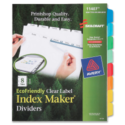 SKILCRAFT® Index Maker Label Dividers, Clear, Set of 8.