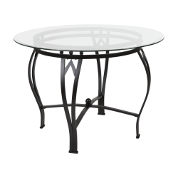 """Flash Furniture Round Glass Dining Table With Bowed Frame, 29-1/2""""H x 42""""W x 42""""D, Clear/Black"""