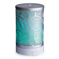 """Airome Ultrasonic Essential Oil Diffusers, 6-1/4"""" x 3-3/4"""", Silver Leaf, Case Of 6 Diffusers"""