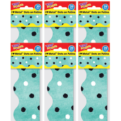 """TREND I Heart Metal Dots Terrific Trimmers Scalloped Borders, 2-1/4"""" x 39"""", Patina, 12 Strips Per Pack, Set Of 6 Packs"""
