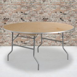 "Flash Furniture Round Heavy-Duty Birchwood Folding Banquet Table, 30""H x 60""W x 60""D, Natural/Silver"