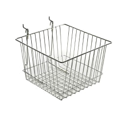 """Azar Displays Chrome Wire Baskets, 4 1/4""""H x 12""""W x 12""""D, Silver, Pack Of 2"""