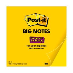 """Post-it® Notes Super Sticky Big Notes, 11"""" x 11"""", Bright Yellow"""