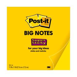 "Post-it® Super Sticky Big Notes, 11"" x 11"", Bright Yellow, 30 Sheets Per Pad"