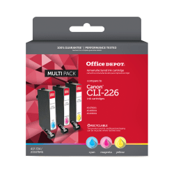 Office Depot® Brand ODCLI226CMY (Canon CLI-226) Remanufactured Cyan/Magenta/Yellow Ink Cartridges, Pack Of 3