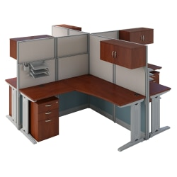 Bush Business Furniture Office in an Hour 4 Person L Shaped Cubicle Workstations, Hansen Cherry, Premium Installation