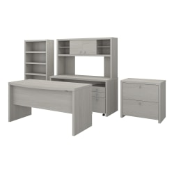 kathy ireland® Office by Bush Business Furniture Echo Bow Front Desk, Credenza With Hutch, Bookcase And File Cabinets, Gray Sand, Standard Delivery