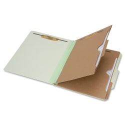 """SKILCRAFT® 6-Part 2"""" Prong Expandable Classification Folders, Legal Size, 30% Recycled, Light Green, Box Of 10"""