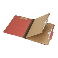 "SKILCRAFT® 6-Part 2"" Prong Expandable Classification Folders, Letter Size, 30% Recycled, Earth Red, Box Of 10 (AbilityOne 7530-01-600-6979)"
