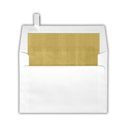 "LUX Square Envelopes With Peel & Press Closure, 6 1/2"" x 6 1/2"", Gold/White, Pack Of 250"