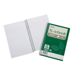 "SKILCRAFT® 100% Recycled Spiral Notebooks, 5"" x 7 1/2"", 1 Subject, College Ruled, 80 Sheets, Green, Pack Of 6 (AbilityOne 7530-01-600-2013)"