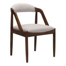 Zuo Modern Jefferson Dining Chair, Beige/Walnut