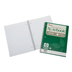 "SKILCRAFT® 100% Recycled Perforated Spiral Notebooks, 8 1/2"" x 11"", 1 Subject, College Ruled, 100 Sheets, Green, Pack Of 3 (AbilityOne 7530-01-600-2025)"