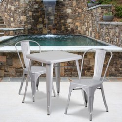 "Flash Furniture Square Metal Indoor-Outdoor Table Set With 2 Stack Chairs, 29""H x 27-3/4""W x 27-3/4""D, Silver"