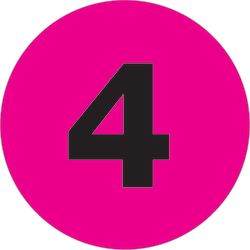 """Tape Logic® Permanent Inventory Labels, DL1361, Number 4, Round, 4"""", Fluorescent Pink, Roll Of 500"""