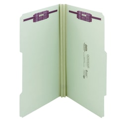 """Smead® Guide Height Pressboard Folders With SafeSHIELD® Fasteners, 2/5 Cut, Legal Size, 2"""" Expansion, 100% Recycled, Gray/Green, Box Of 25"""