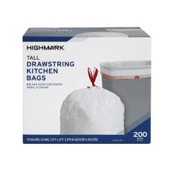 "Highmark™ Tall 0.6 mil Drawstring Kitchen Trash Bags, 13 Gallon, 27.375"" x 24"", White, Box Of 200"