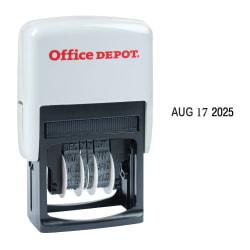 "Office Depot® Brand Date Line Dater Stamp Self-Inking with Extra Pad Date Line Dater  Stamp, 1-1/8"" x 1-1/4"" Impression, Black Ink"