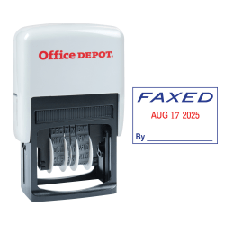 """Office Depot® Brand Date Faxed Dater Stamp Self-Inking with Extra Pad Date Faxed Dater Stamp, 1"""" x 1-3/4"""" Impression, Red and Blue Ink"""