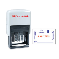 "Office Depot® Brand Date Paid Dater Stamp Self-Inking with Extra Pad Date Paid Dater  Stamp, 1"" x 1-3/4"" Impression, Red and Blue Ink"