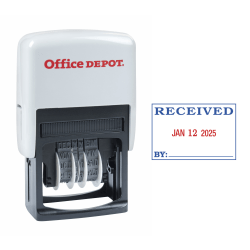 "Office Depot® Brand Received Date Stamp Dater, Self-Inking With Extra Pad, 1"" x 1-3/4"" Impression, Red And Black Ink"