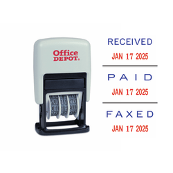 """Office Depot® Brand Date Message Stamp Dater Paid, Received, Faxed, Self-Inking 3-In-1  Micro Date Message Stamp Dater, 1-1/16"""" x 5/8"""" Impression, Red/Blue  Ink"""