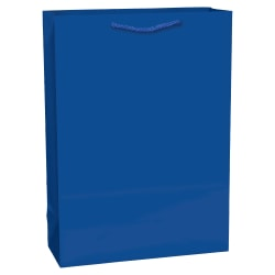 "Amscan Extra-Large Glossy Paper Gift Bags, 16-3/4""H x 12-1/4""W x 5-1/2""D, Bright Royal Blue, Pack Of 4 Bags"