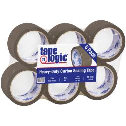 "Tape Logic® Acrylic Tape, 3"" Core, 2"" x 55 Yd., Tan, Case Of 6"