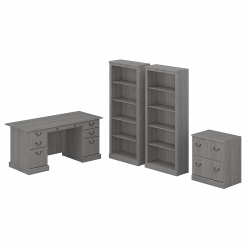 "Bush Furniture Saratoga 66""W Executive Desk With File Cabinet And 5-Shelf Bookcase Set, Modern Gray, Standard Delivery"