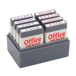 "Office Depot® Brand Mini Message Stamp Kit, 1"" x 1/4"" Impression, Blue/Red Ink"