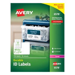 """Avery® Permanent Durable ID Labels With TrueBlock®, 6578, 2"""" x 2 5/8"""", White, Pack Of 750"""
