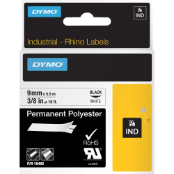 "DYMO® Rhino Permanent Poly Labels, DYM18482, Permanent Adhesive, 3/8""W x 18'L, Direct Thermal, White, Polyester"