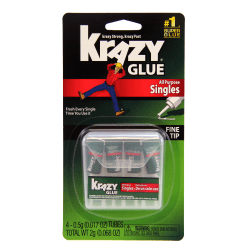 Krazy® Glue, All-Purpose Single-Use, .07 Oz., Clear, Pack Of 4