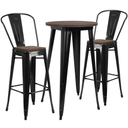 """Flash Furniture Round Metal Bar Table With 2 Stools, 41-1/2""""H x 24""""W x 24""""D, Wood/Black"""