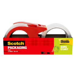 """Scotch® Sure Start Shipping Tape With Dispenser, 1-7/8"""" x 38.2 Yd., Clear, Pack Of 2 Tapes"""